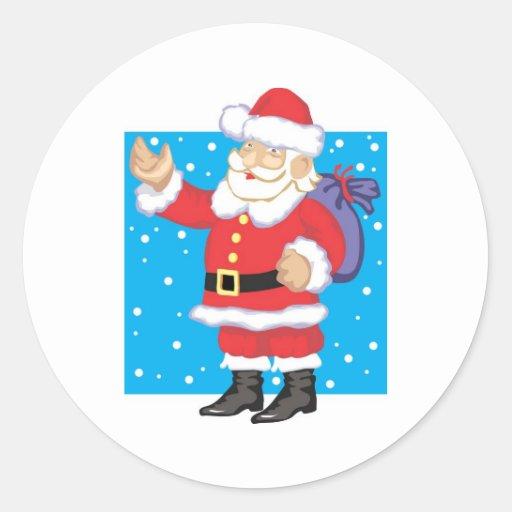 Smiling Santa Claus Round Stickers