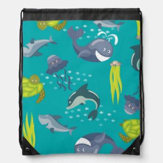 Smiling Sea Creatures Pattern Drawstring Bag