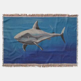 Smiling shark throw blanket