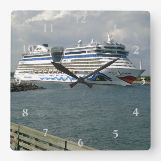 Smiling Ship in Channel Square Wall Clock