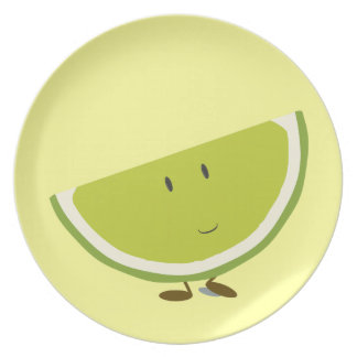Smiling sliced lime character plate