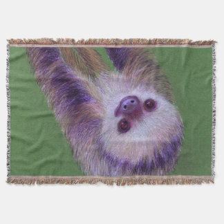 Smiling Sloth Throw Blanket