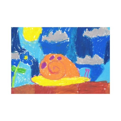 Smiling Snail Stretched Canvas Prints