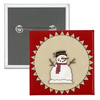 Smiling Snowman 15 Cm Square Badge