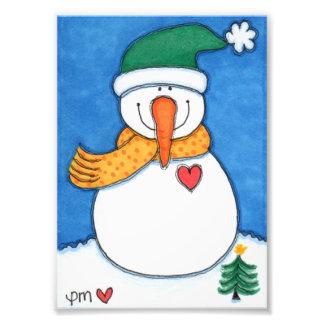 "Smiling Snowman 5"" x 7"" Satin Photo Enlargement"