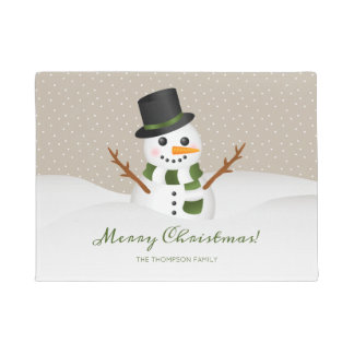 Smiling Snowman And Custom Family Name Christmas Doormat