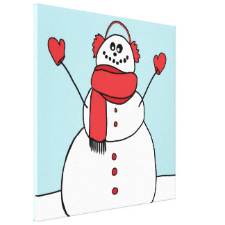 Smiling Snowman Stretched Canvas Print