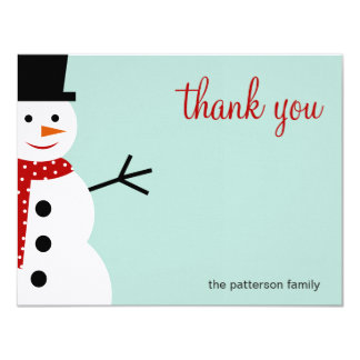 Smiling Snowman Christmas/Holiday Thank You Cards 11 Cm X 14 Cm Invitation Card