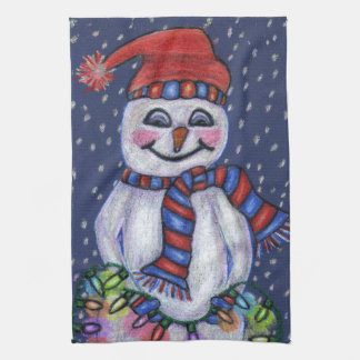 Smiling Snowman Hat Scarf Snow Christmas Lights Tea Towel