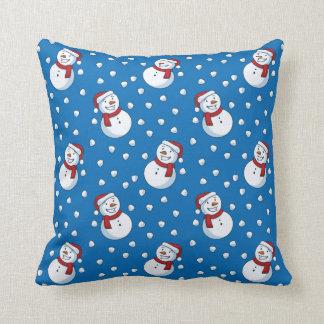 Smiling Snowmen In The Falling Snow Cushion