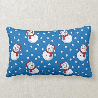Smiling Snowmen In The Falling Snow Lumbar Cushion
