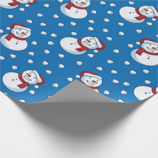 Smiling Snowmen In The Falling Snow Wrapping Paper