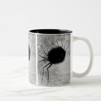 Smiling Spider by Odilon Redon, Vintage Halloween Two-Tone Coffee Mug