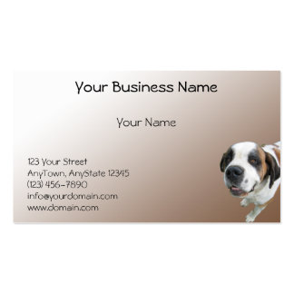 Smiling St. Bernard on Brown Gradient Business Card Template