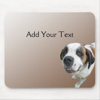 Smiling St. Bernard on Brown Mouse Pad