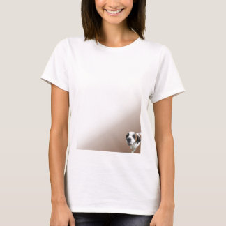 Smiling St. Bernard on Brown T-Shirt