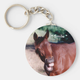 Smiling Standardbred Horse Keychain