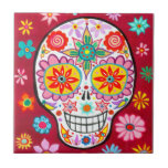 Smiling Sugar Skull Ceramic Tile