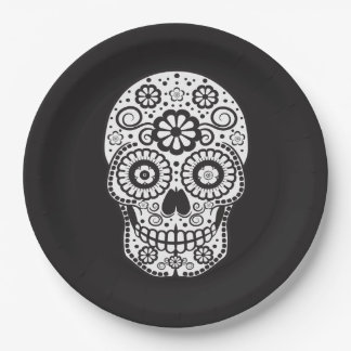 Smiling Sugar Skull Paper Plate