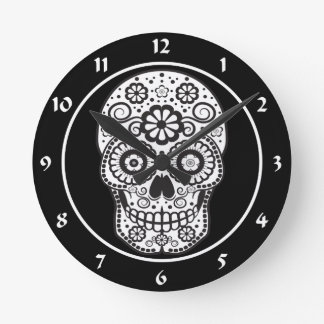 Smiling Sugar Skull Round Clock