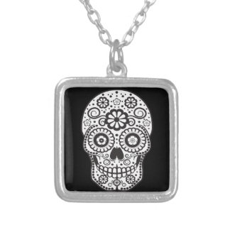 Smiling Sugar Skull Silver Plated Necklace