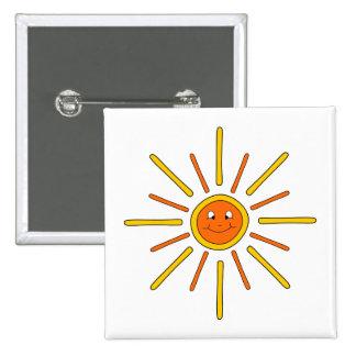 Smiling Summer Sun. Yellow and Orange. Pin