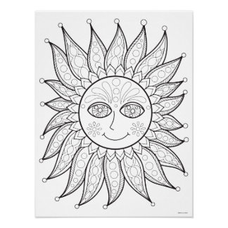 Smiling Sun Coloring Poster - Colorable Sun Poster