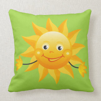 Smiling Sun Design Throw Pillow