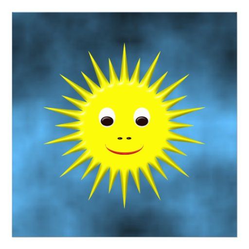 Smiling Sun with blue sky photo print