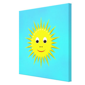 Smiling Sun with cyan sky canvas Canvas Prints
