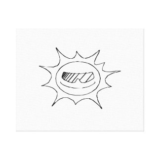 Smiling Sun with Glasses Gallery Wrapped Canvas