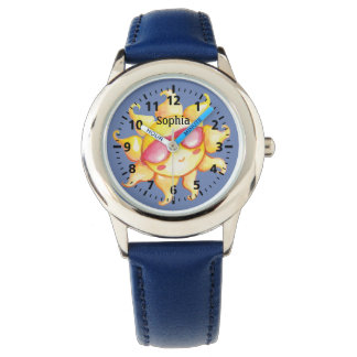 Smiling Sun with Glasses on Blue Sky Personalized Watch