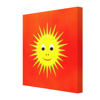 Smiling Sun with orange sky canvas Stretched Canvas Print