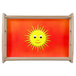 Smiling Sun with orange sky Food Tray