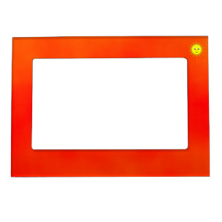 Smiling Sun with orange sky frame Picture Frame Magnets