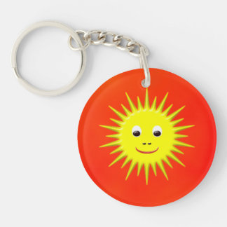 Smiling sun with orange sky key chain
