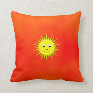 Smiling Sun with orange sky pillow