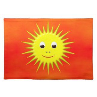 Smiling Sun with orange sky placemat