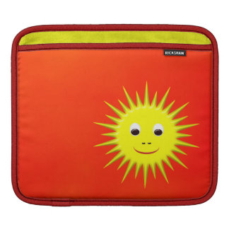 Smiling Sun with orange sky sleeve iPad Sleeves