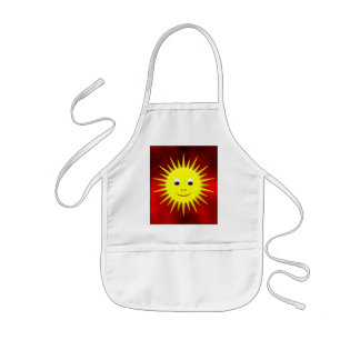 Smiling Sun with red sky Kids Apron