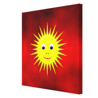 Smiling Sun with red sky canvas Stretched Canvas Prints