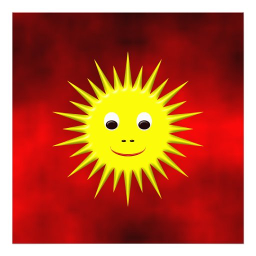 Smiling Sun with red sky photo print