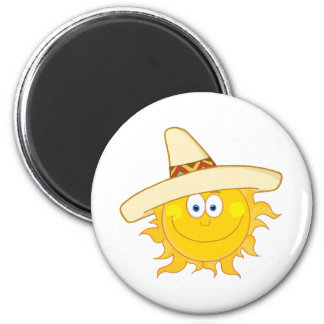 Smiling Sun With Sombrero Hat 6 Cm Round Magnet