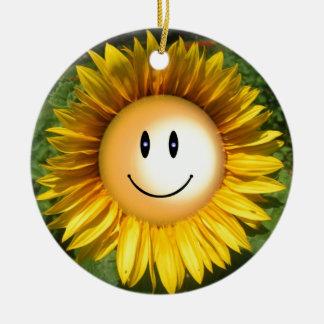 Smiling sunflower artistic illustration round ceramic decoration
