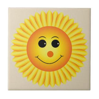 Smiling Sunflower Ceramic Tile