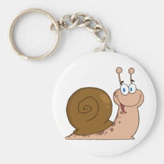Smiling Super Snail Basic Round Button Key Ring