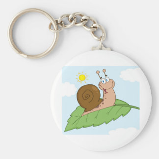 Smiling Super Snail on His Leaf Basic Round Button Key Ring