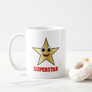 Smiling Superstar Character Gold Color Star Coffee Mug
