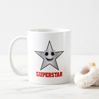 Smiling Superstar Character Silver Color Star Coffee Mug