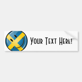 Smiling Swedish Flag Car Bumper Sticker